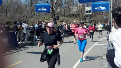 Approaching the finishline in pink and blue :)