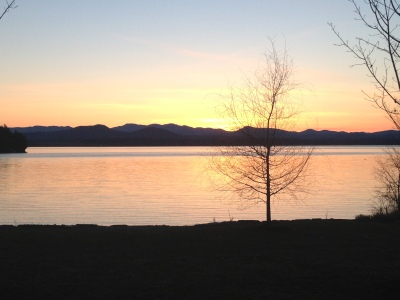 The view of Lake Champlain at sunset.